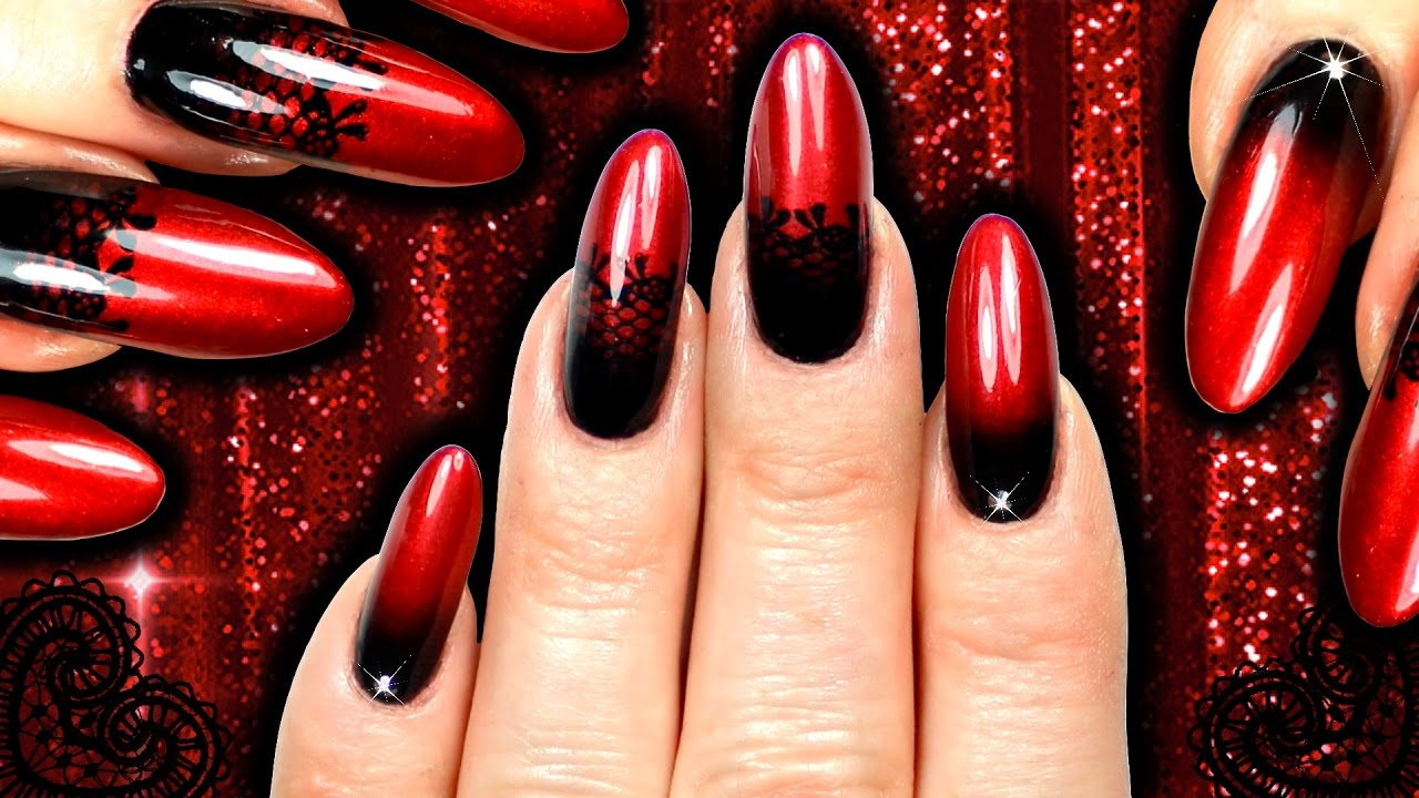 BURLESQUE RED AND BLACK LACE VAMPY OMBRE NAIL ART (SPONGE/GRADIENT ...