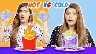 Eating Only HOT vs COLD Food Challenge   SAMREEN ALI