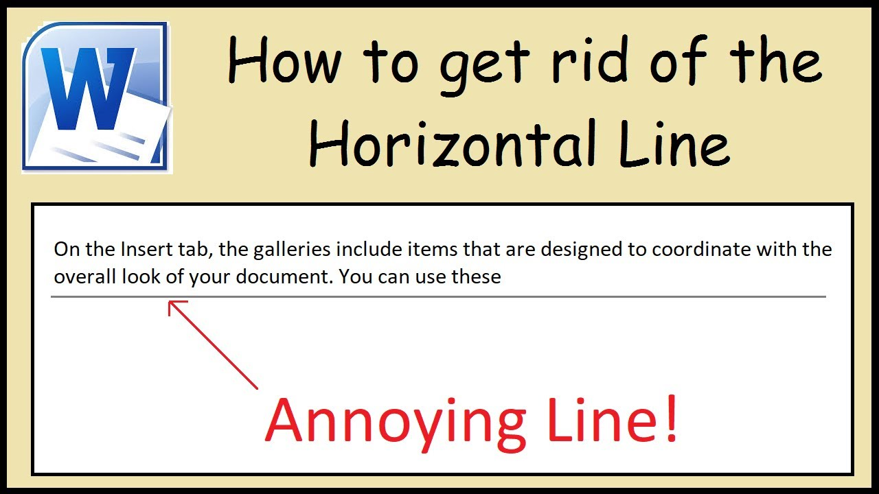 How to remove the horizontal line in Microsoft Word - YouTube
