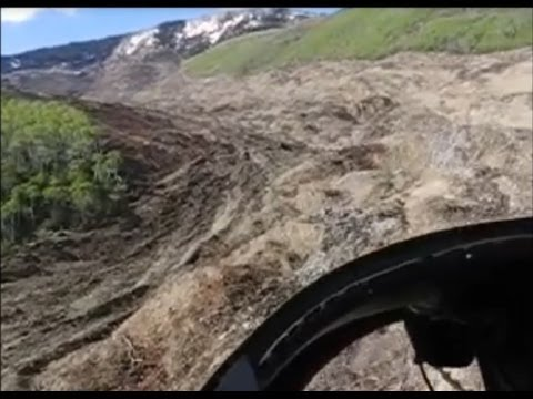 5/27/2014 -- Helicopter view of Colorado 4 MILE LONG Landslide @ Fracking Operation