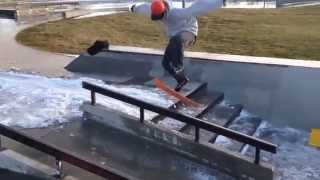 Big spin front board on a snowskate