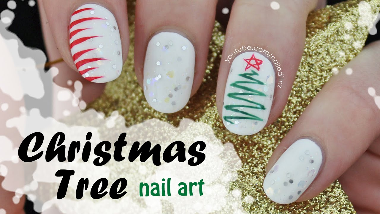 Christmas Tree Nail Art Simple Squiggle