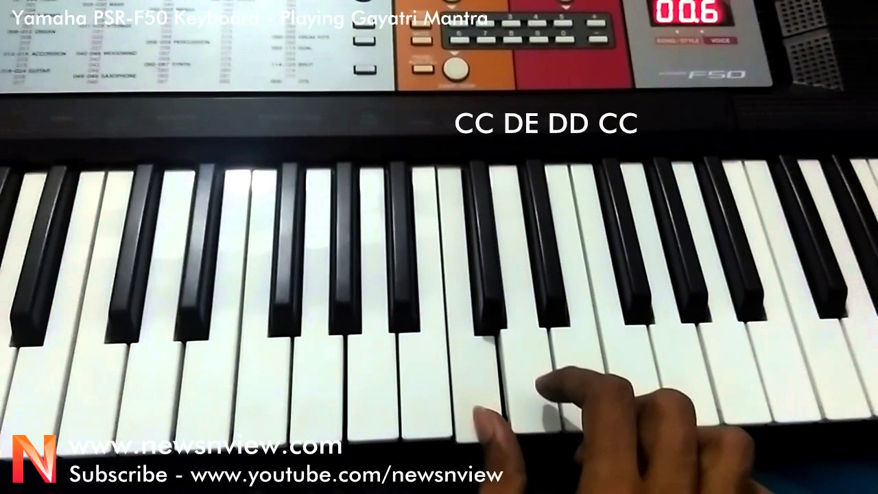 gayatri mantra on yamaha psr f50 keyboard with notes youtube. Black Bedroom Furniture Sets. Home Design Ideas