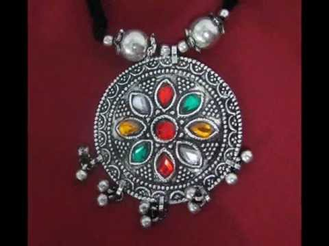 Indian Ethnic Silver Jewelry Neclace Set From India