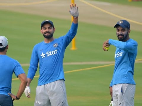 Indian test team running Holkar stadium in Indore