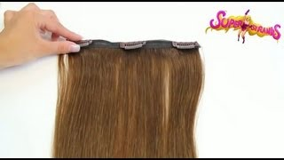 www.superstrands.com 10 Piece Quad weft hair extensions tutorial How To: Clip in apply