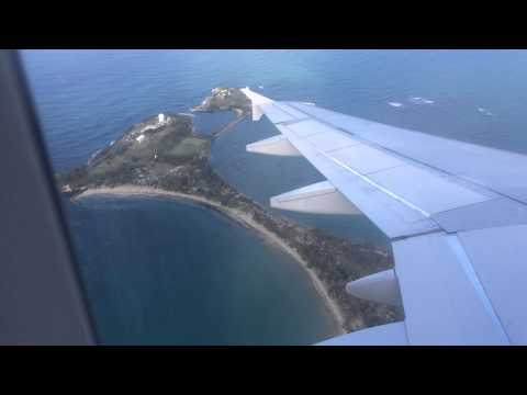 Approach and Landing at SJU (San Juan Puerto Rico) on JetBlue Airbus A320