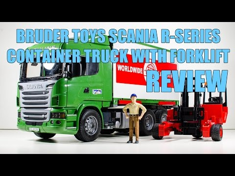 Bruder Toys SCANIA R-Series Container Truck with Forklift Video Review