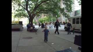 Little Man Chasing Pigeons Down 1st Avenue in NYC 2 days after Brain Surgery