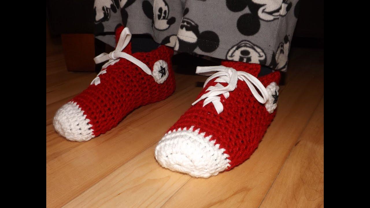 Crochet Converse Sneakers O Zapatillas Para Adulto. - YouTube