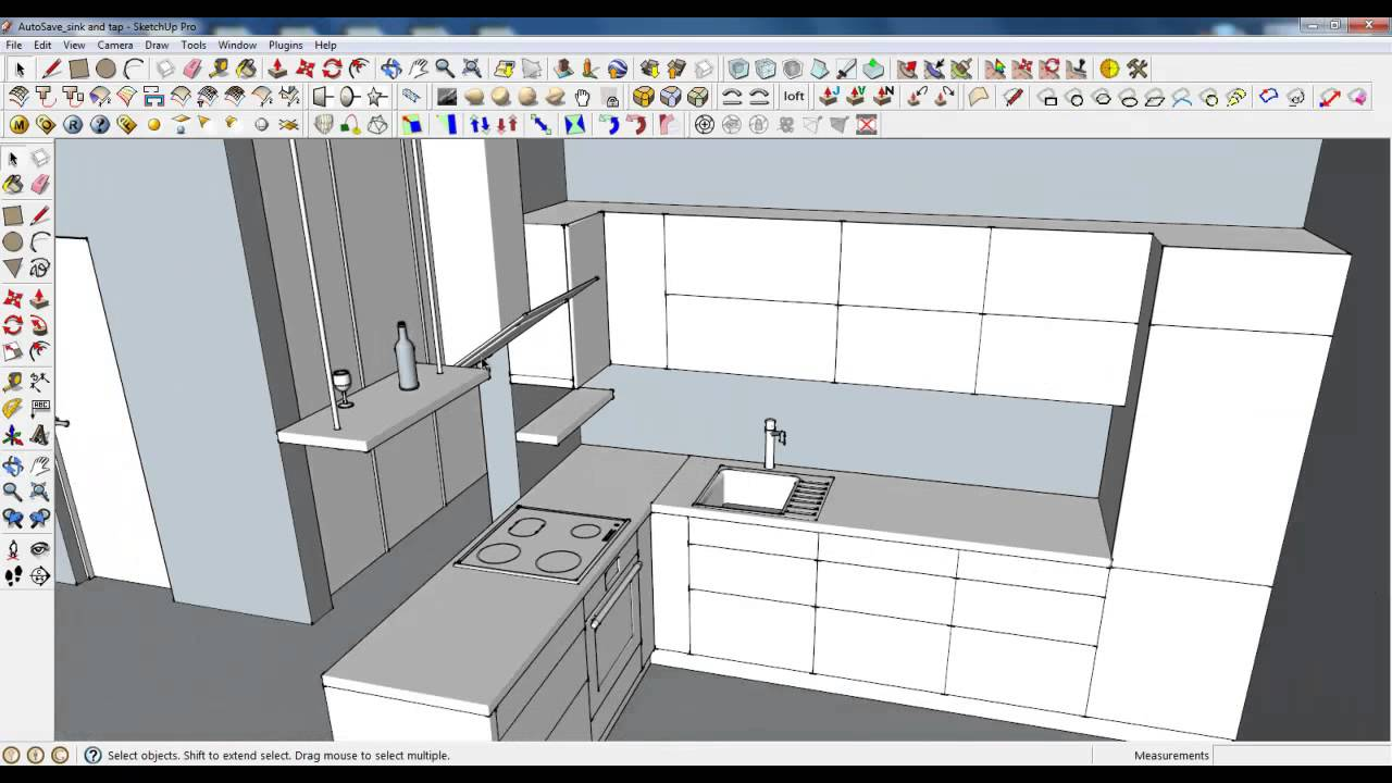 Google Sketchup Tutorial Part 03 Kitchen Modeling Accesories Youtube