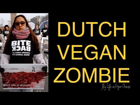 DUTCH VEGAN ZOMBIE activist with Bite Back & Bont is DOOD in Eindhoven (NL)