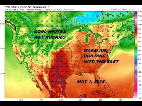 Severe Weather Threat Across Plains & Mississippi Valley Tuesday Wednesday, Warm Weather Heads East