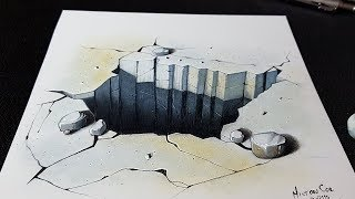 How to Draw a 3D Concrete Floor Hole - Easy 3d Drawing