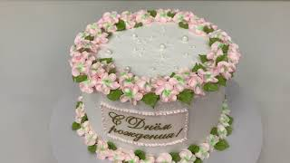 Как ПРОСТО и НЕЖНО украсить Торт Цветы из БЕЛКОВОГО крема Весенний торт Красивый торт