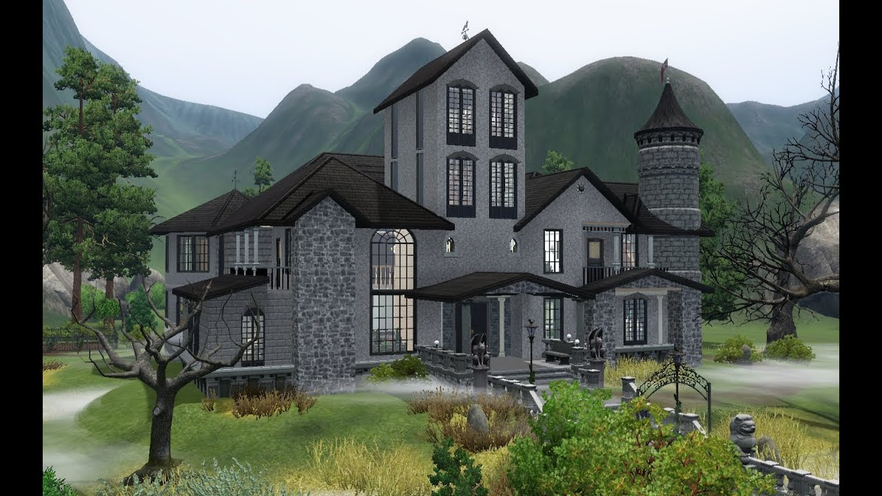 The sims 3 house building haunted castle youtube for How to build a castle home