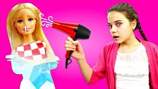 Видео с Барби - Уход за кожей лица и волосами зимой. Салон красоты - игры с куклами