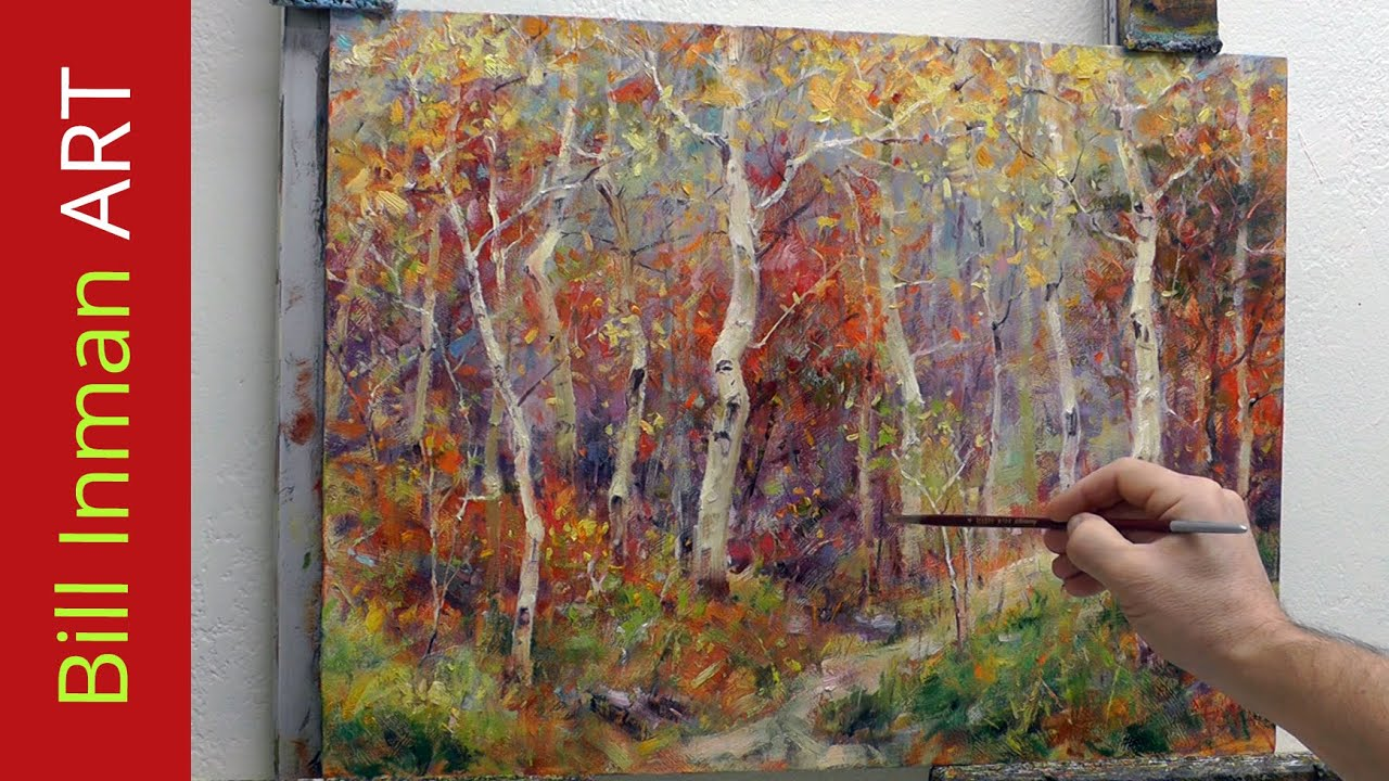 How to Paint Aspen Trees - Oil Paint - Fast Motion Art Video Rocky Mountain  Dream by Bill Inman
