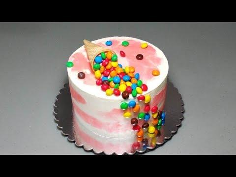 Детский торт на День рождения с маковым бисквитом и персиками. Без мастики. English Subtitles