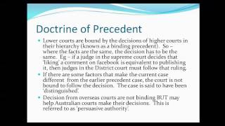 Precedent, Original and Appellate Jurisdiction and Common and Statute law