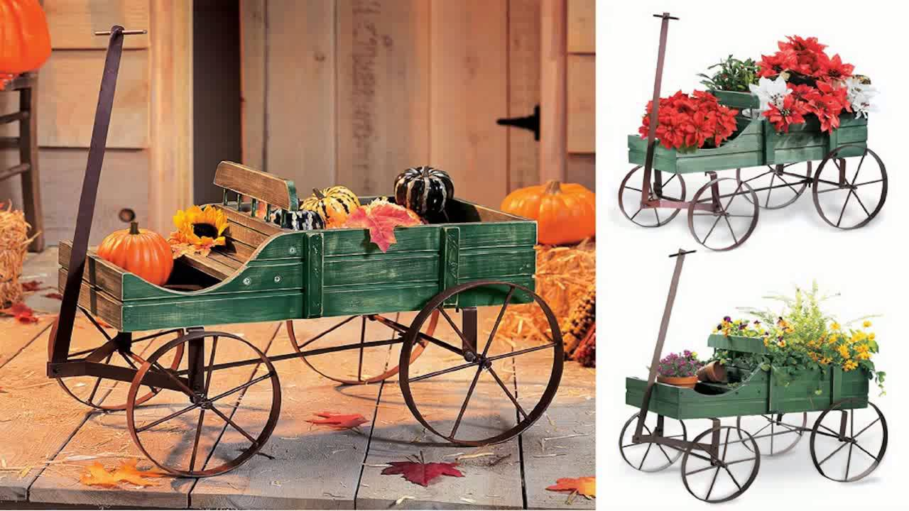 Amish Wagon Decorative Garden Planter Green   YouTube
