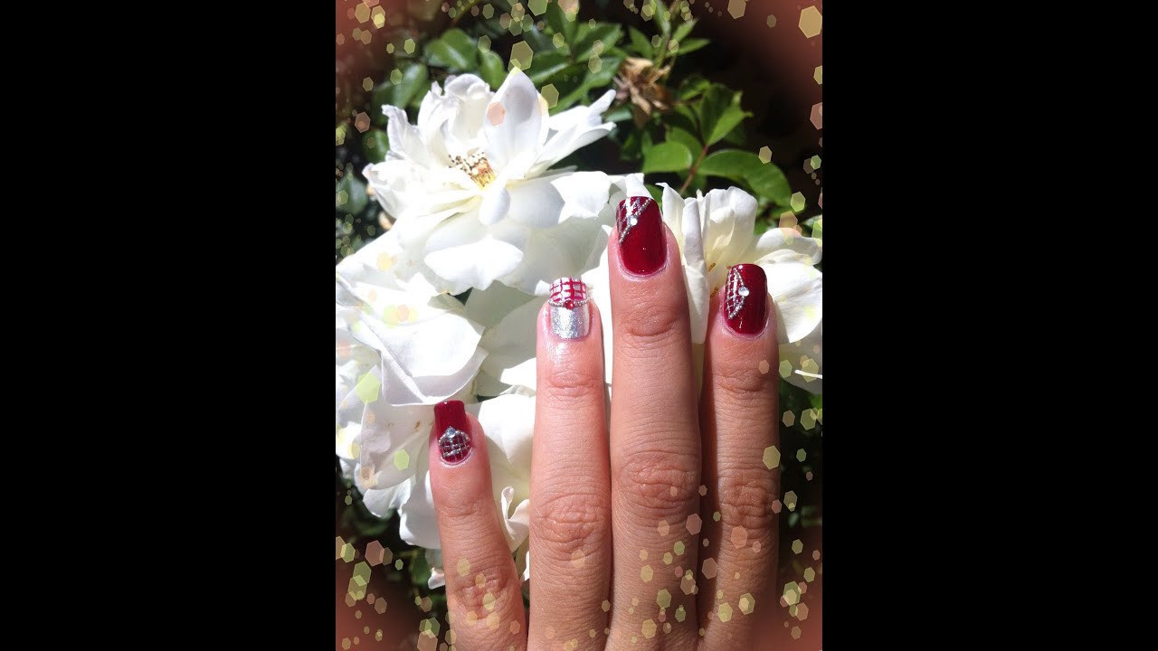 Diseño de uñas Rojo Y Plata (No Konad) - YouTube