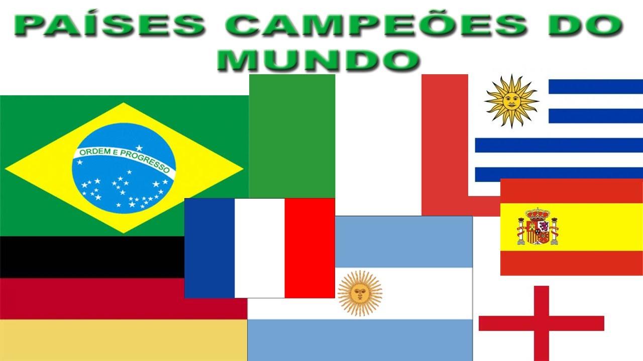 Paises campeões da copa do mundo e suas bandeiras - YouTube 065c6c76d1cca