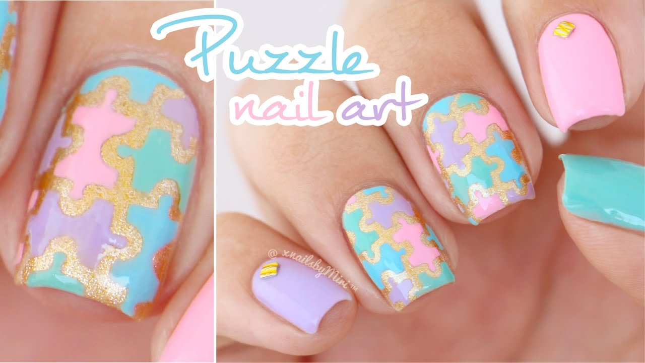 Colorful Puzzle Pieces Nail Art || using nail vinyls from PonchiNail ...