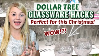 DOLLAR TREE GLASSWARE HACKS! + NEW Christmas DIYS 2020   Krafts by Katelyn