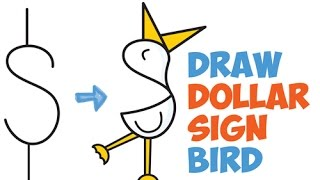 How to Draw a Cartoon Heron / Duck / Bird from $ Symbol Easy Step by Step Drawing Tutorial for Kids