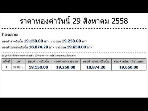 ราคาทองคำวันนี้ 29 สิงหาคม 2558