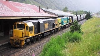 TranzAlpine and Canterbury coal trains over New Zealand's Southern Alps.