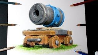 Como dibujo al Cañón con ruedas de Clash Royale | How to draw Cannon Cart