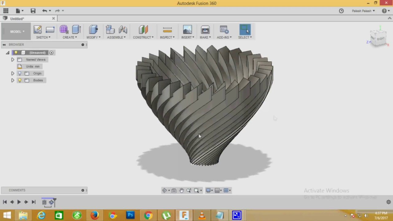 How to create flower vase in fusion 360