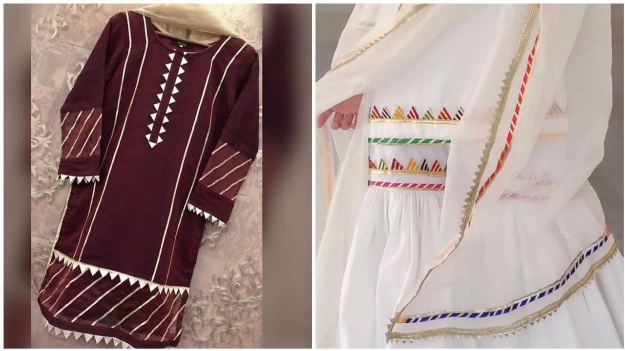 Samosa lace and gota patti work suit stitching and designing ideas 2020 || kurti with lace designs