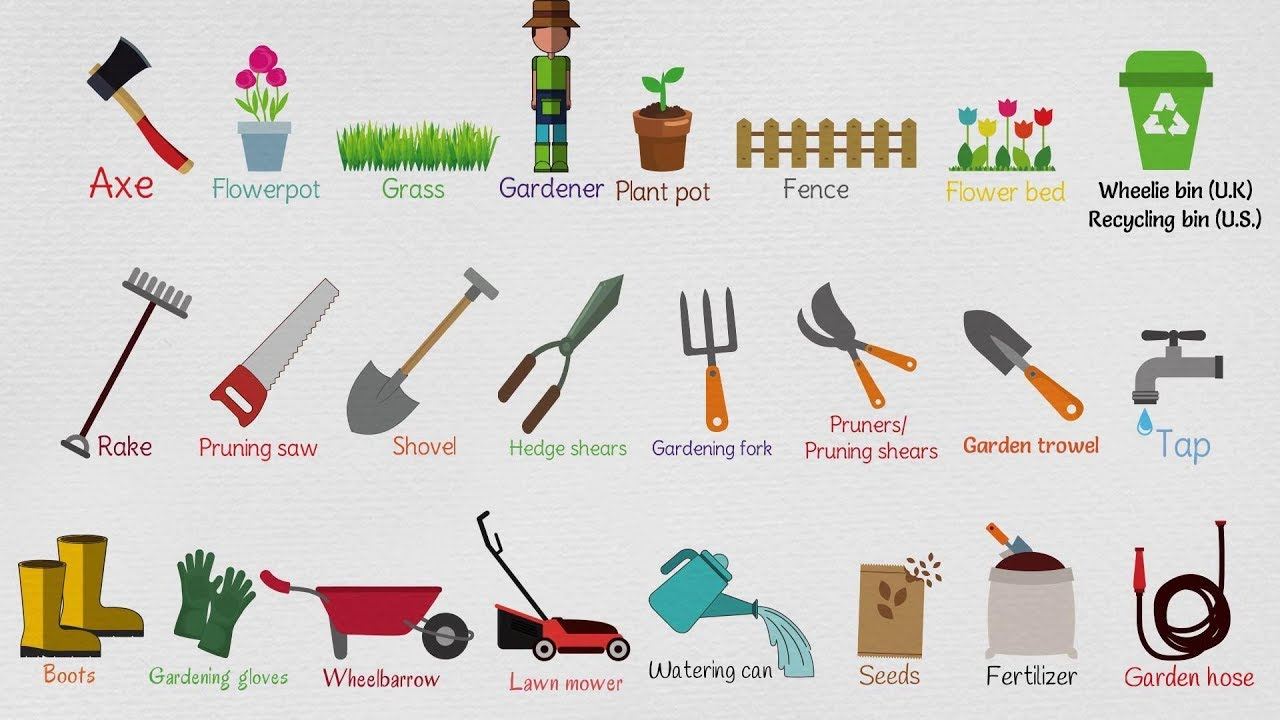 Kids vocabulary gardening tools for kids garden for Gardening tools list with pictures