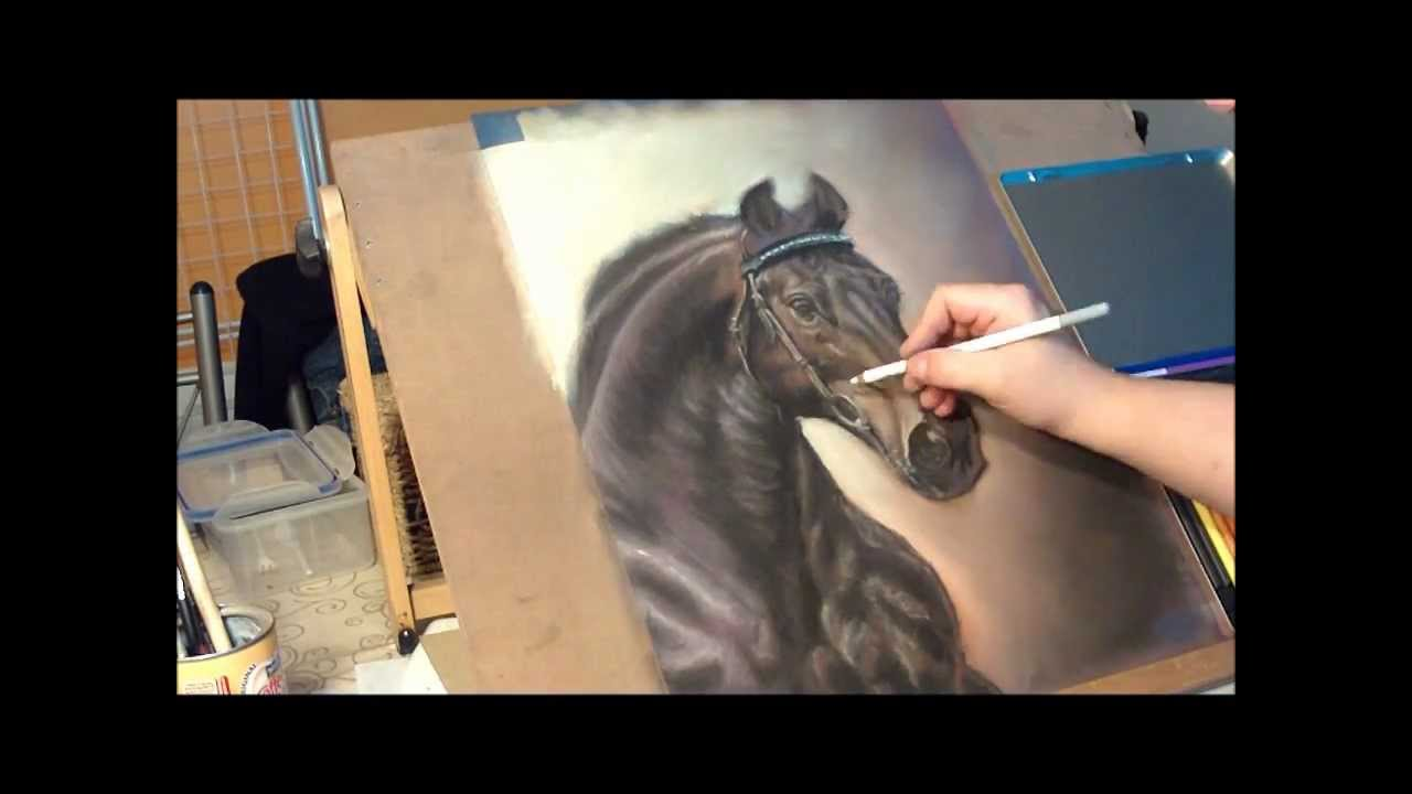 Fast Drawing Silesian Horse In Soft Pastel