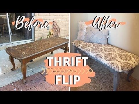 DIY Bench Ottoman | Thrifted Makeover | Thrift Store Flip