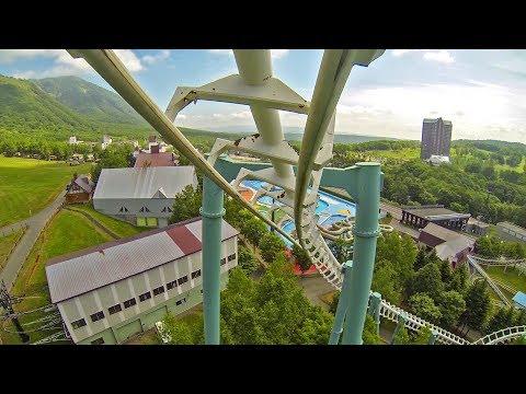 Hurricane Roller Coaster Front Seat POV! Rusutsu Resort Japan Vekoma SLC