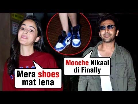 Ananya Panday UNCOMFORTABLE, Hides Legs, Kartik Aaryan Removes Moustache | Pati Patni aur Woh Mp3