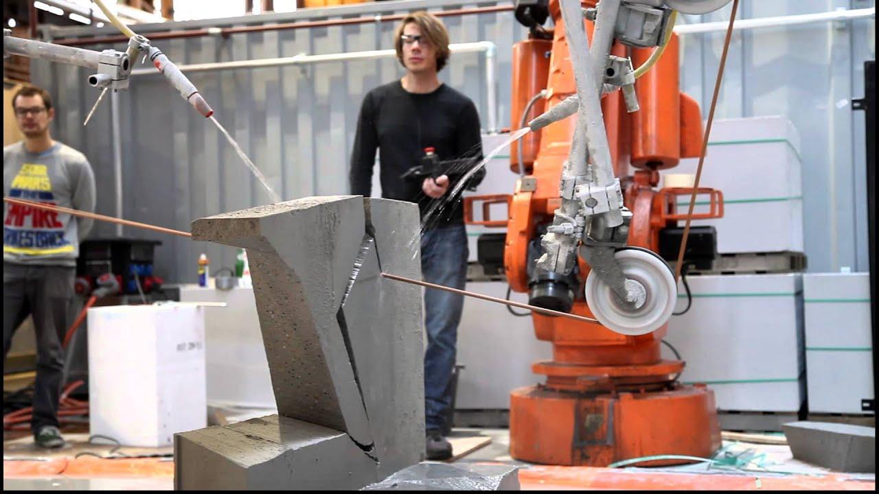 diamond wire cutting at Hyperbody\'s robotics lab / RobArch 2012 ...