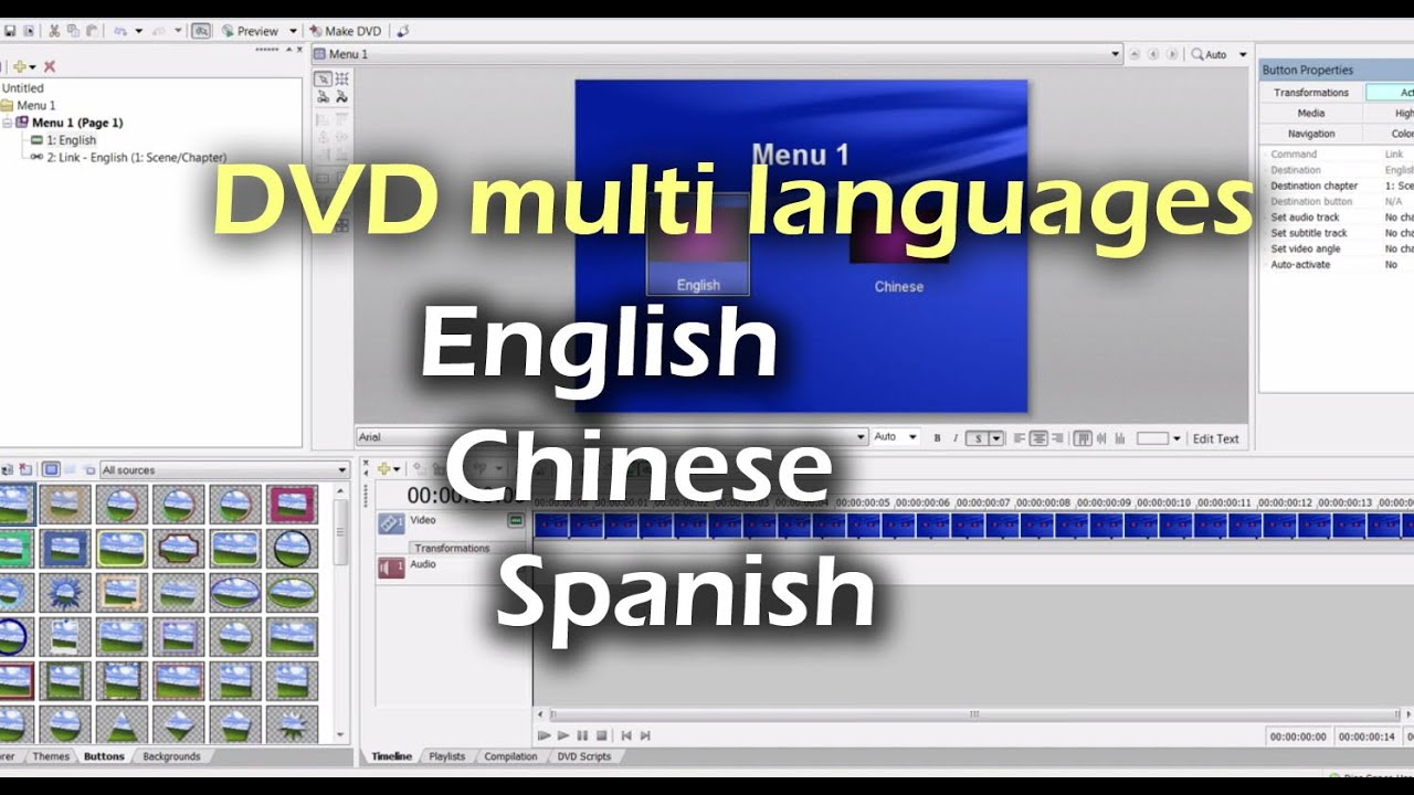 How To Create Multiple Languages / Audio In Sony DVD