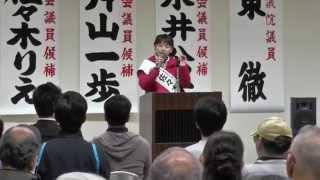 2015.04.06 住之江 個人演説会 粉浜中央福祉会館 東とおる 佐々木りえ ...