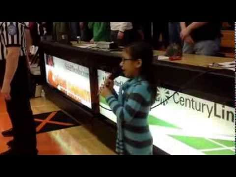 Ally P Alyssa Divine Blesses N Indiana Elementary B Ball Championship Game W The National Anthem