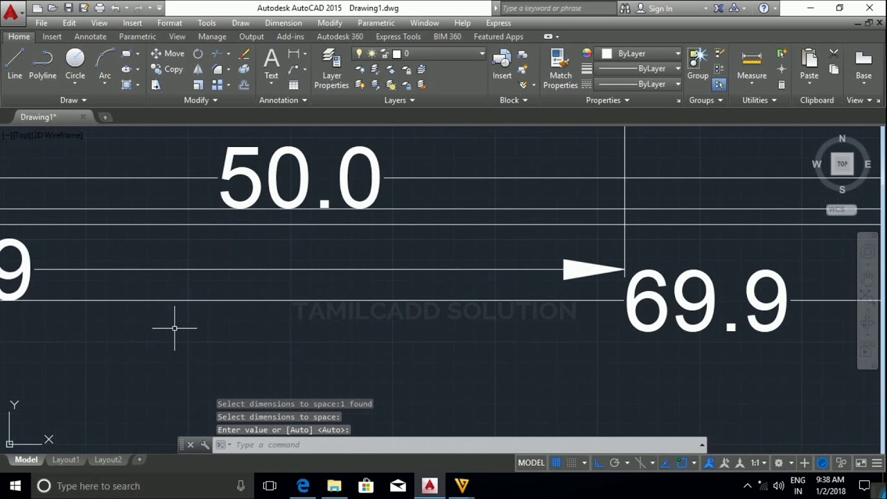 AutoCAD Base Line, Continue, Dimension Break, And Dimension Space- Tamil