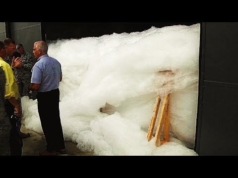 Huge hangar FILLED WITH FOAM during INCREDIBLE Air National Guard FIRE SUPPRESSION TEST!