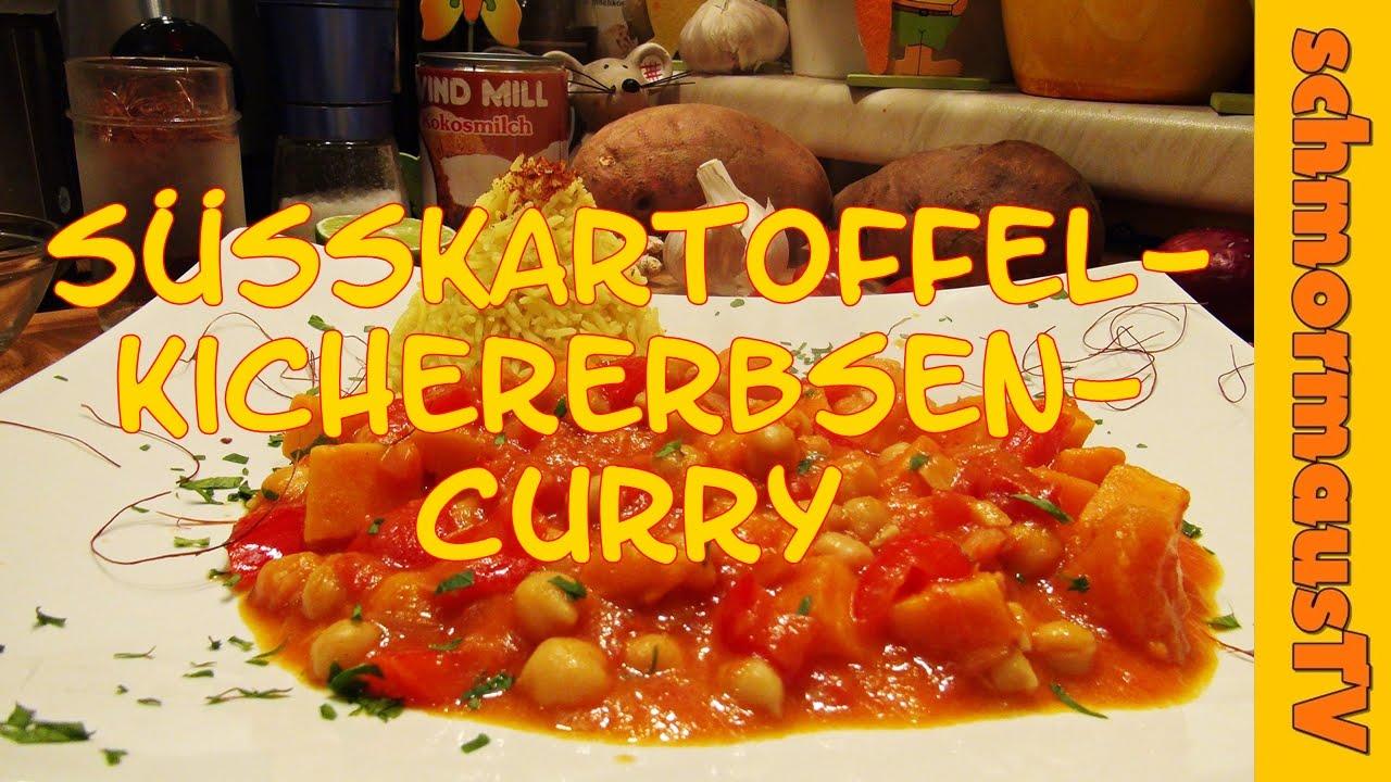 Süsskartoffel-Kichererbsen Curry - vegetarisches Rezept - indisches ...