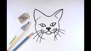 Рисуем кошачью мордочку. Как нарисовать кошку