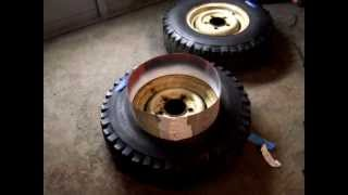 How to spray paint onto tires for fake whitewalls on a tire or mask off rims wheels for painting