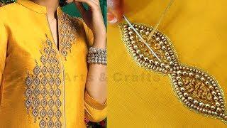 beautiful aari embroidery on kurti   aari work for beginners   bead work tutorial   #285